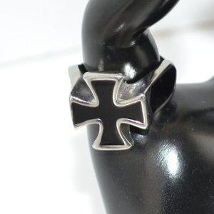Mens Silver Black Iron Cross Templar Biker Ring